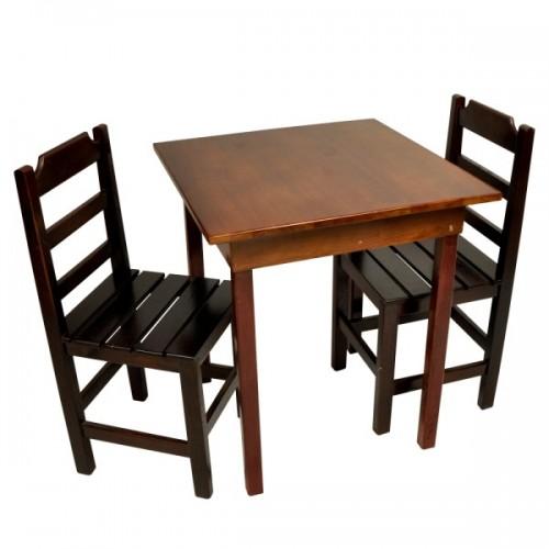 Conjunto Fixo com 2 Cadeiras Ripadas Imbuia