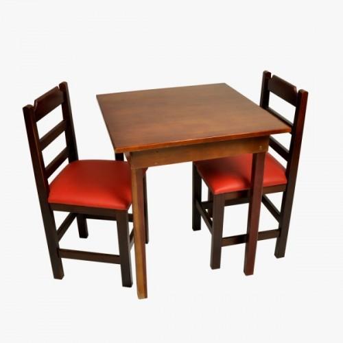 Conjunto Fixo com 2 Cadeiras Almofadadas Vermelho