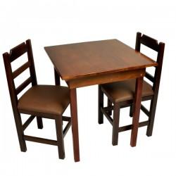 Conjunto Fixo com 2 Cadeiras Almofadadas Marrom