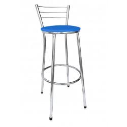 Banqueta Alta Bistrô Cromada com Assento Azul