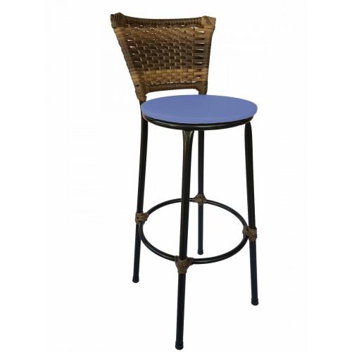 Banqueta Alta Bistrô Junco Preto com Assento Azul