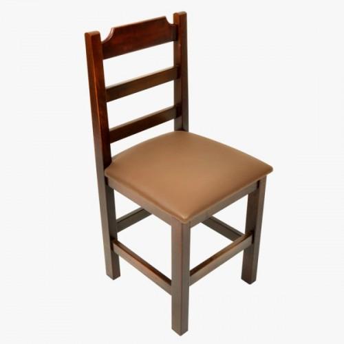 Cadeira Fixa Paulista Almofadada com Assento Marrom